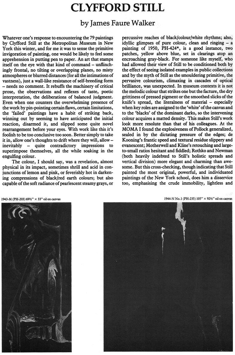 James Faure Walker , Clyfford Still Article Page 1, Artscribe 23