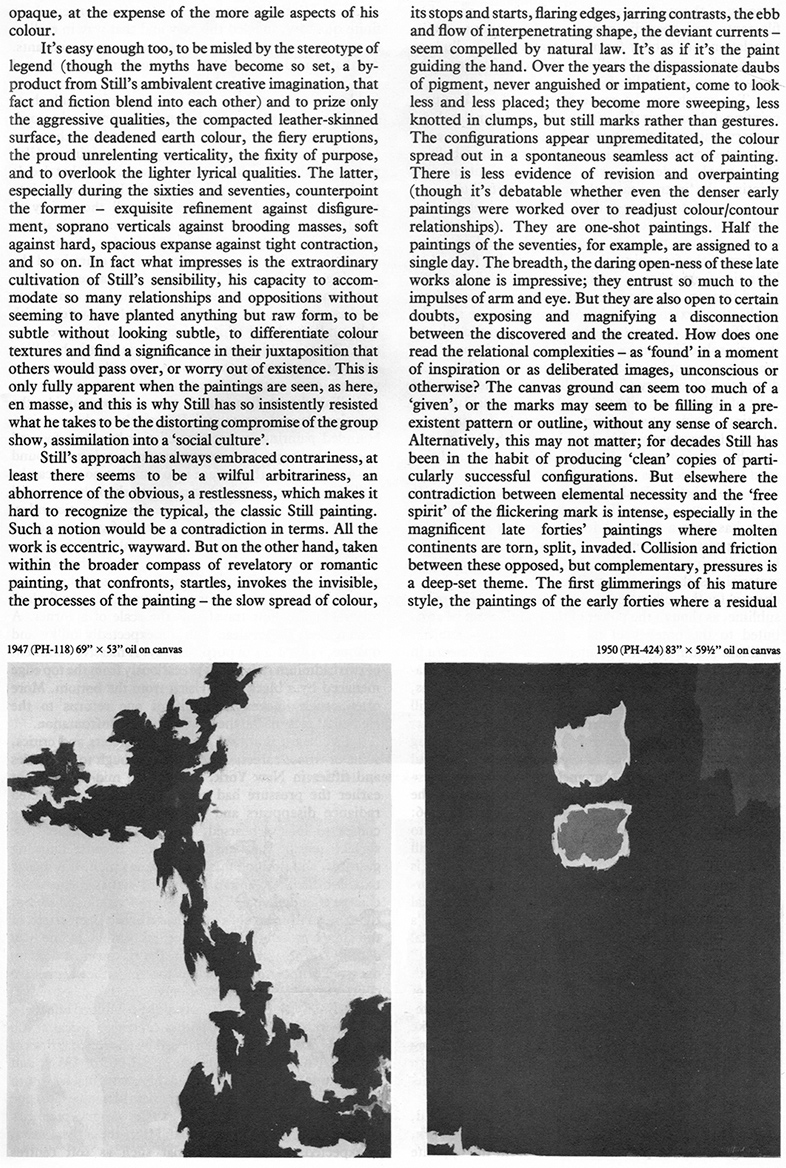James Faure Walker , Clyfford Still Article Page 2, Artscribe 23