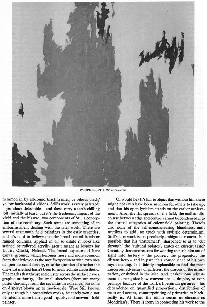 James Faure Walker , Clyfford Still Article Page 5, Artscribe 23