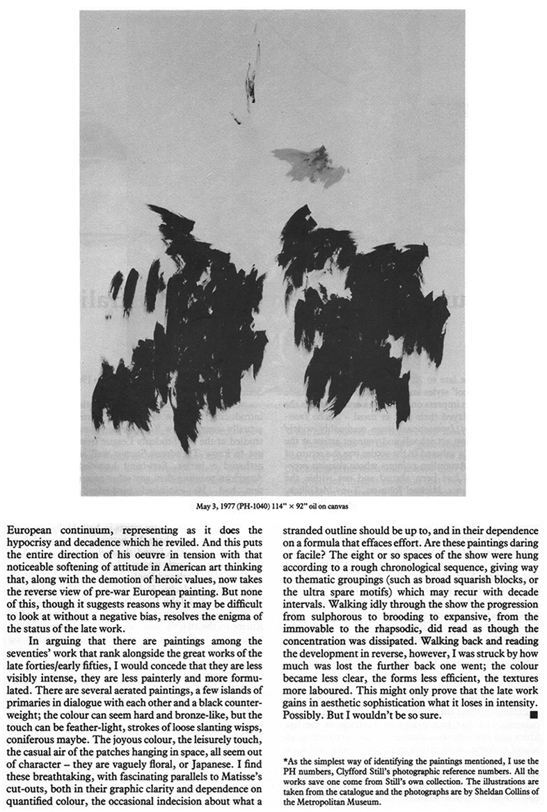 James Faure Walker , Clyfford Still Article Page 6, Artscribe 23