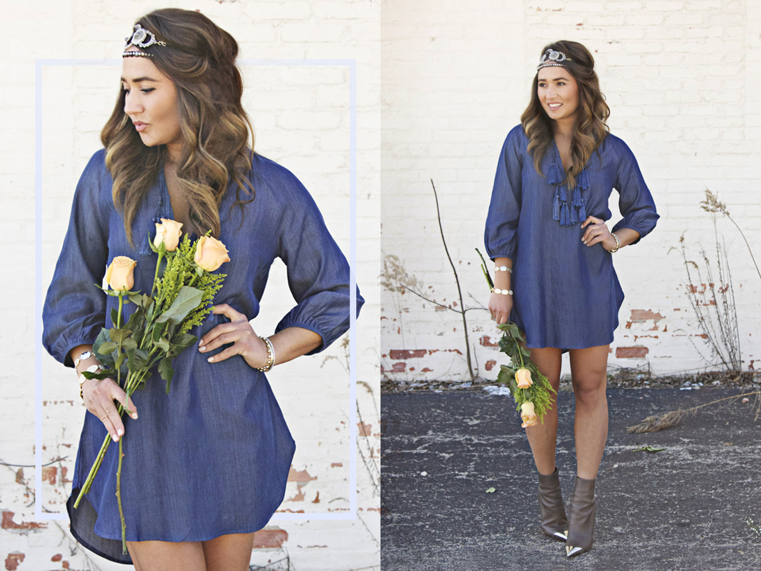 blue hippie blouse with tassels