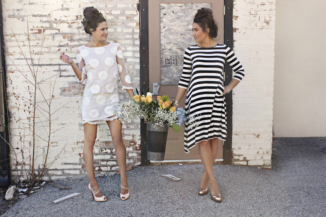 darla lace spring dress and sfizio italy striped maxi dress