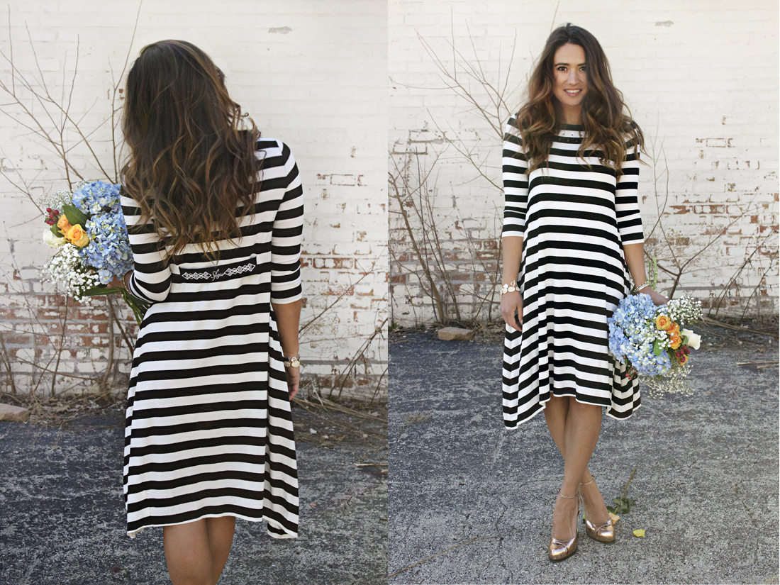 hepburn striped maxi dress