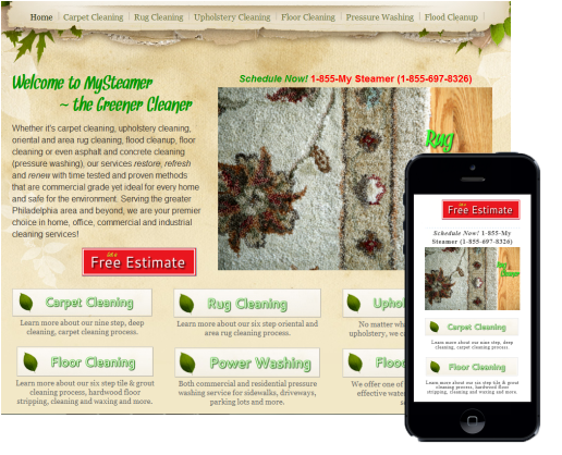 Website designed for local carpet cleaning company showing both desktop and optimized mobile views