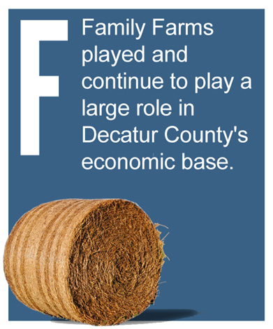 F - Family Farms played and continue to play a large role in Decatur County's economic base.