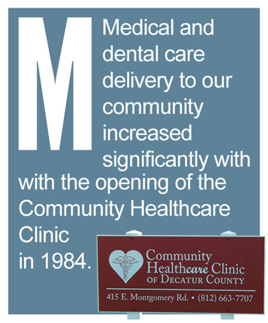 M - Medical and dental care delivery to our community increased significantly with the opening of the Community Healthcare Clinic in 1984.
