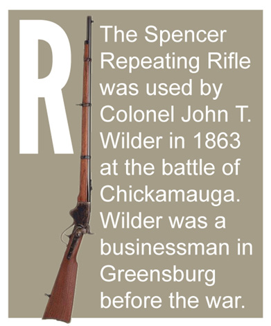 R - The Spencer Repeating Rifle was used by Colonel John T. Wilder in 1863at the battle of Chickamauga.  Wilder was a businessman in Greensburg before the war.