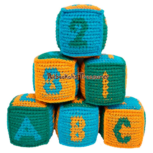Free Tapestry Crochet ABC Blocks Pattern PDF by Rebeckah's Treasures #crochet #pattern #toys #abc #123 #blocks
