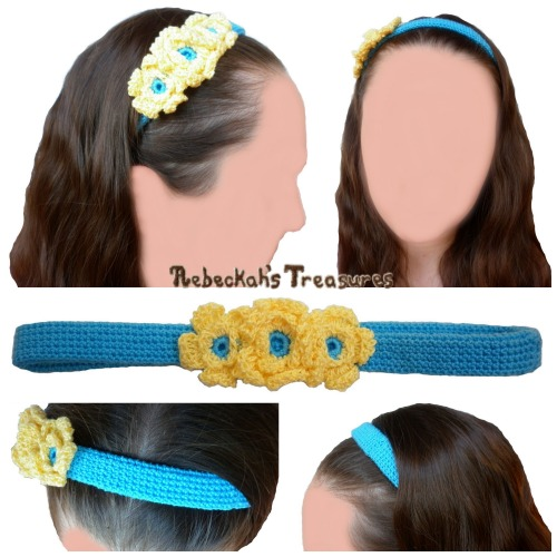 Floral Blue Crochet Headband Pattern PDF $1.50 by Rebeckah's Treasures! Try if for FREE on the Blog or Grab your copy today here: http://goo.gl/oKFR8e #crochet #pattern #headband #accessory