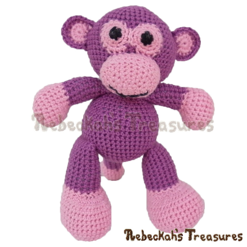 Amigurumi Grape Ape Monkey Crochet Pattern PDF $2.95 by Rebeckah's Treasures! Grab your copy today here: http://goo.gl/Q1gVcj #crochet #pattern #toys #monkey #ape #softy #amigurumi