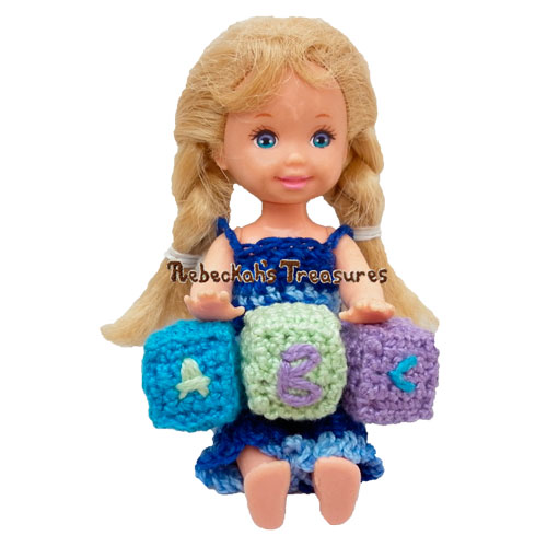 Kelly's ABC Blocks Crochet Pattern by Rebeckah's Treasures! Try if for FREE on the Blog #crochet #pattern #barbie #kelly #toys