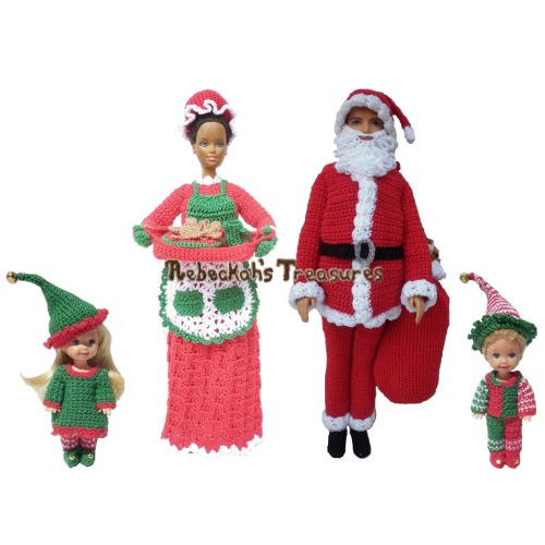 Fashion Doll Christmas Crochet Pattern Bundle PDF $12.00 by Rebeckah's Treasures! Grab your copy today here: http://goo.gl/fgVifZ #crochet #pattern #barbie #toys #christmas #santa #elves #mrsclaus