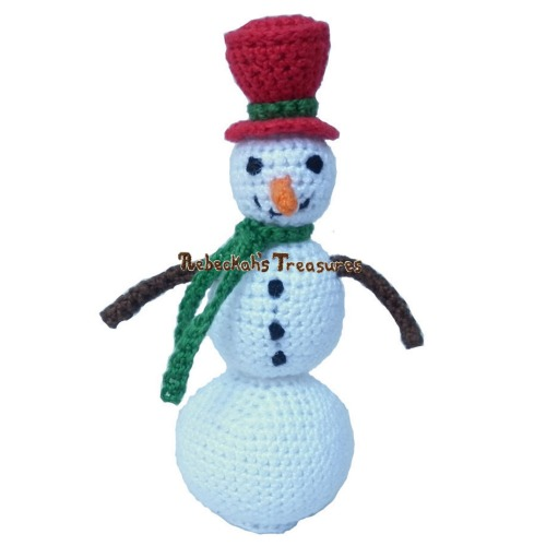 Little Snowman Crochet Pattern PDF $1.50 by Rebeckah's Treasures! Try if for FREE on the Blog or Grab your copy today here: http://goo.gl/XIt1W1 #crochet #pattern #snowman #toys #amigurumi #christmas