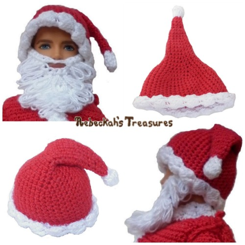 FREE Santa's Hat Crochet Pattern PDF by Rebeckah's Treasures! Grab your copy today here: http://goo.gl/tVtxGG #crochet #pattern #barbie #ken #toys #santa #christmas