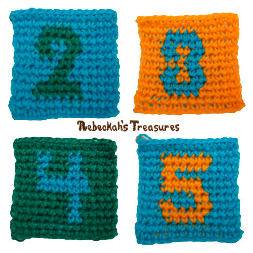 Free Tapestry Crochet ABC Block Square Patterns by Rebeckah's Treasures #crochet #pattern #toys #abc #123 #blocks