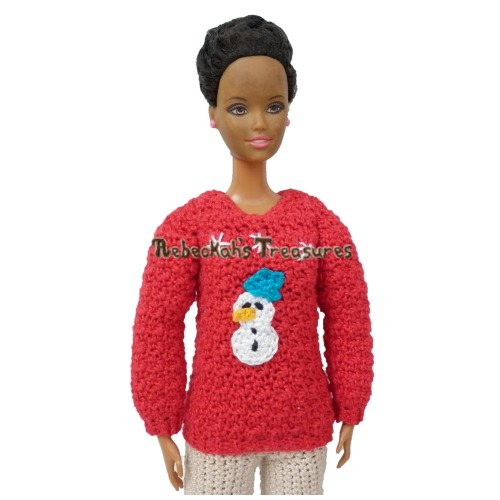 Fashion Doll Mom Christmas Sweater Crochet Pattern PDF $2.50 by Rebeckah's Treasures! Grab your copy today here: http://goo.gl/nxo0Q7 #crochet #pattern #barbie #toys #christmas