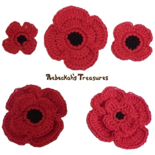 FREE Remembrance Poppies Crochet Pattern PDF by Rebeckah's Treasures! Grab your copy today here: http://goo.gl/8R4n2W #crochet #pattern #poppies #remembrance