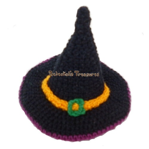 FREE Witch Fashion Doll Hat Crochet Pattern PDF by Rebeckah's Treasures! Grab your copy today here: http://goo.gl/VGilmx #crochet #pattern #barbie #toys #witch #halloween