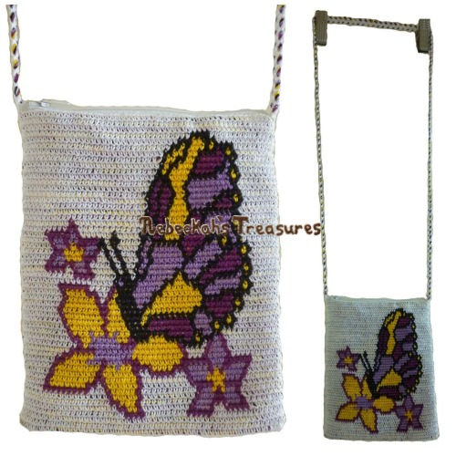 Butterfly Kiss Tapestry Crochet Shoulder Bag Pattern PDF $3.75 by Rebeckah's Treasures! Grab your copy today here: http://goo.gl/lNWjWA #crochet #pattern #tapestry #accessory #bag