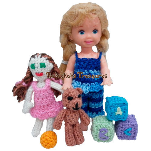 Crochet Toys for Kelly Pattern PDF $1.50 by Rebeckah's Treasures! Try if for FREE on the Blog or Grab your copy today here: http://goo.gl/clyATG #crochet #pattern #barbie #kelly #doll #teddy #toys