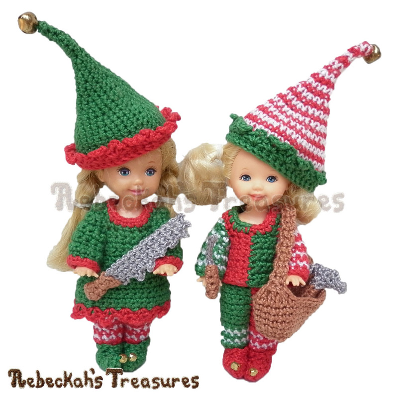Elves Child Fashion Doll Crochet Pattern PDF $5.75 by Rebeckah's Treasures! Grab your copy today here: http://goo.gl/3S4bc1 #crochet #pattern #barbie #toys #kelly #tommy #elves #christmas