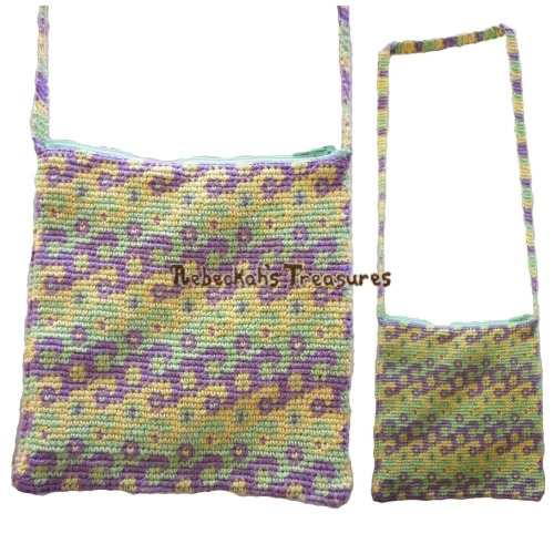 Swirls Tapestry Crochet Shoulder Bag Pattern PDF $3.75 by Rebeckah's Treasures! Grab your copy today here: http://goo.gl/qojrVZ #crochet #pattern #tapestry #accessory #bag