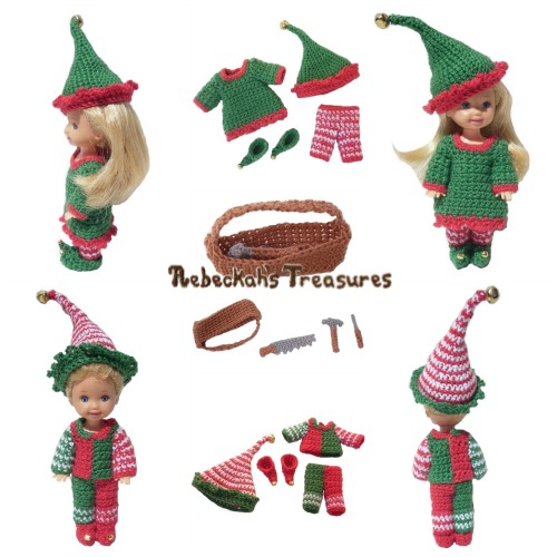 Elves Child Fashion Doll Crochet Pattern PDF $4.00 by Rebeckah's Treasures! Grab your copy today here: http://goo.gl/3S4bc1 #crochet #pattern #barbie #toys #kelly #tommy #elves #christmas