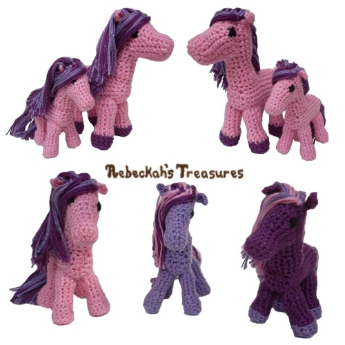 Ponies Crochet Pattern PDF $4.00 by Rebeckah's Treasures! Grab your copy today here: http://goo.gl/V8BFYn #crochet #pattern #pony #amigurumi #toys