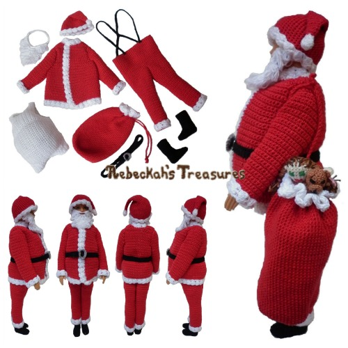 Santa Male Fashion Doll Crochet Pattern PDF $6.00 by Rebeckah's Treasures! Grab your copy today here: http://goo.gl/1awubA #crochet #pattern #barbie #toys #santa #ken #christmas