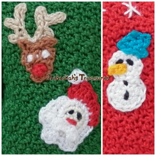 FREE Mini Christmas Appliques Crochet Pattern PDF by Rebeckah's Treasures! Grab your copy today here: http://goo.gl/gXWqh3 #crochet #pattern #barbie #reindeer #toys #santa #snowman #frosty #christmas