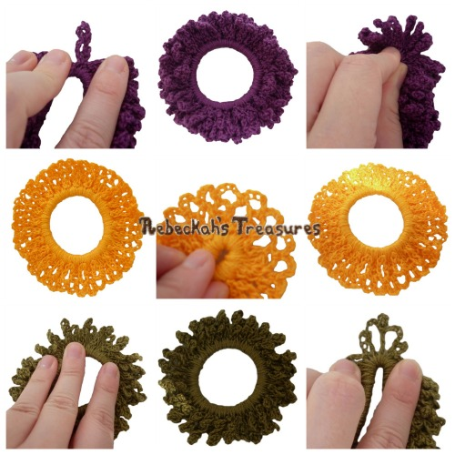 3 Autumn Crochet Scrunchies from Vol. 1 Pattern PDF $1.50 by Rebeckah's Treasures! Grab your copy today here: http://goo.gl/ftxU9x #crochet #pattern #accessory #scrunchy