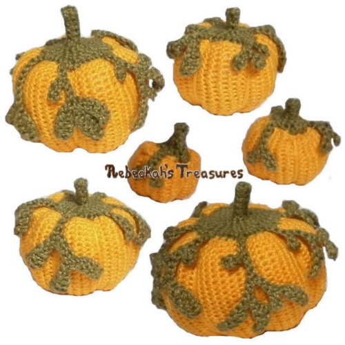 Pumpkins Galore Crochet Pattern PDF $5.00 by Rebeckah's Treasures! Grab your copy today here: http://goo.gl/wN4FMe #crochet #pattern #pumpkin #amigurumi #toys #halloween #thanksgiving