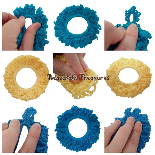 3 Summer Crochet Scrunchies from Vol. 1 Pattern PDF $1.50 by Rebeckah's Treasures! Grab your copy today here: http://goo.gl/ZLMeoy #crochet #pattern #accessory #scrunchy