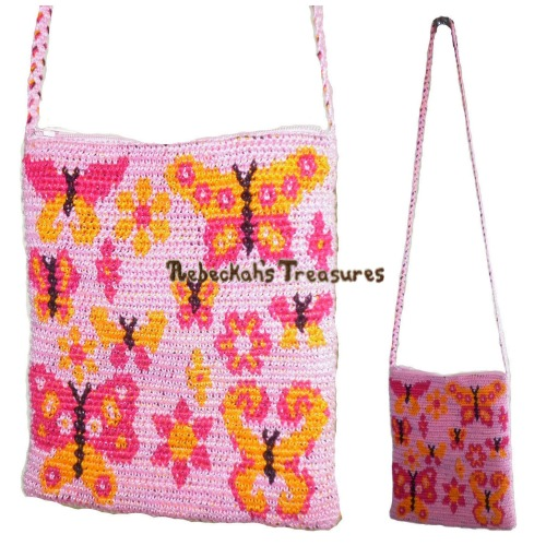 Blooming Butterflies Tapestry Crochet Shoulder Bag Pattern PDF $3.75 by Rebeckah's Treasures! Grab your copy today here: http://goo.gl/iW930N #crochet #pattern #tapestry #accessory #bag