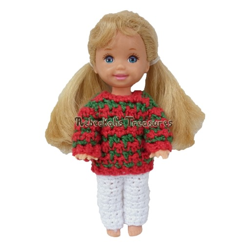 Fashion Doll Child Christmas Sweater Crochet Pattern PDF $2.00 by Rebeckah's Treasures! Grab your copy today here: http://goo.gl/nw3cp8 #crochet #pattern #barbie #toys #kelly #christmas