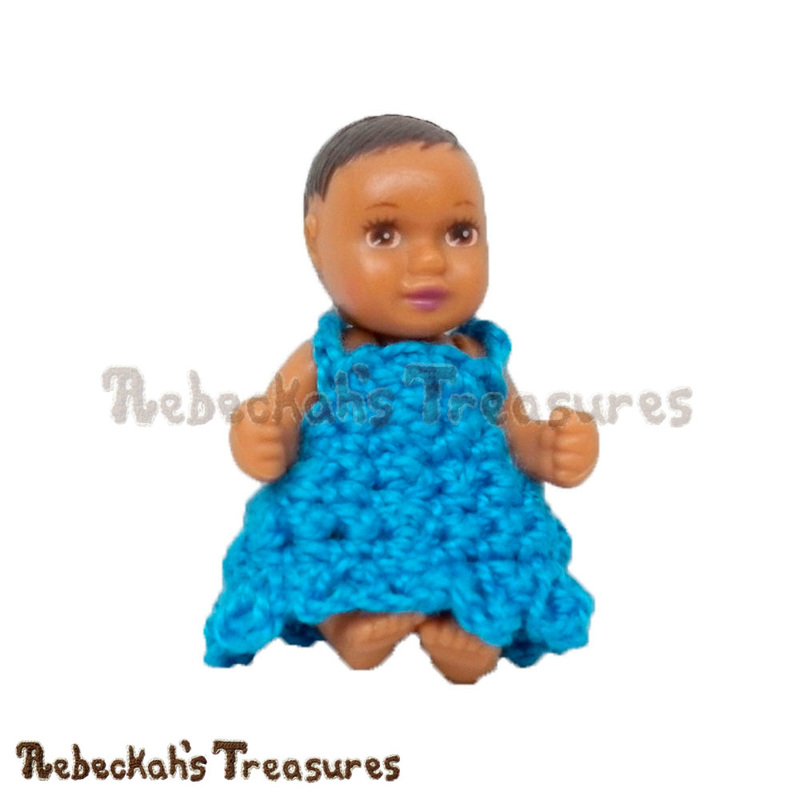Free Simply Bluetiful Baby Fashion Doll Dress Crochet Pattern by Rebeckah's Treasures! See it here: http://goo.gl/xVgxJ4 #baby #barbie #dress #crochet #pattern