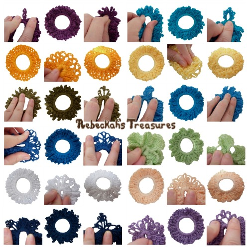 12 Original Crochet Scrunchies Vol. 1 Pattern PDF $3.00 by Rebeckah's Treasures! Grab your copy today here: http://goo.gl/zgNc0A #crochet #pattern #accessory #scrunchy