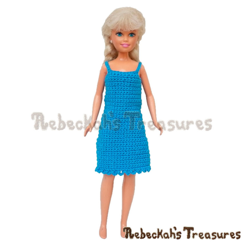 Free Simply Bluetiful Teen Fashion Doll Dress Crochet Pattern by Rebeckah's Treasures! See it here: http://goo.gl/FRAUkm #skipper #barbie #dress #crochet #pattern