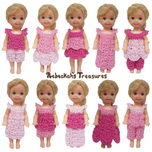 Pretty in Pink Child Fashion Doll Crochet Pattern PDF $1.50 by Rebeckah's Treasures! Try if for FREE on the Blog or Grab your copy today here: http://goo.gl/KMFhEV #crochet #pattern #barbie #kelly #toys