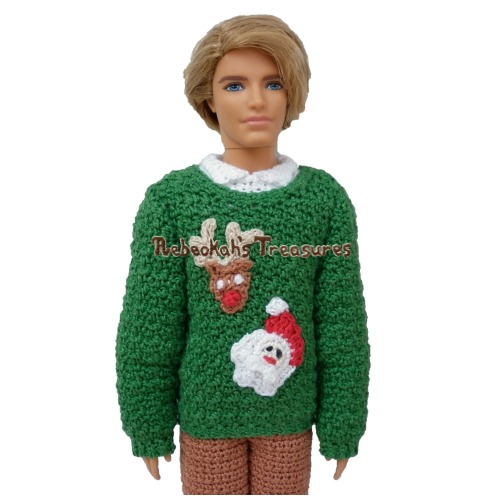 Fashion Doll Dad Christmas Sweater Crochet Pattern PDF $2.50 by Rebeckah's Treasures! Grab your copy today here: http://goo.gl/smVA5P #crochet #pattern #barbie #toys #ken #christmas