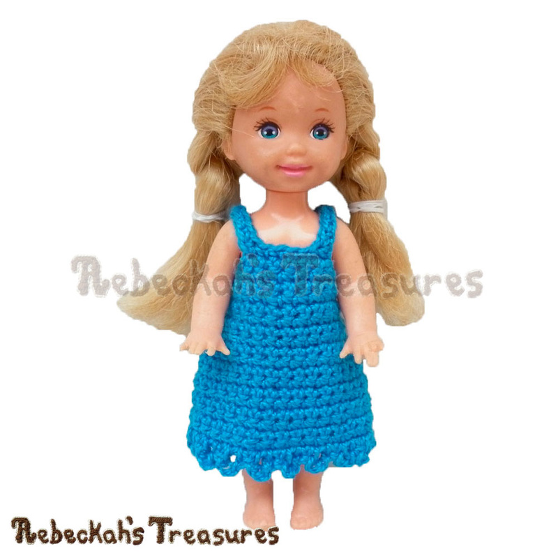 Free Simply Bluetiful Child Fashion Doll Dress Crochet Pattern by Rebeckah's Treasures! See it here: http://goo.gl/HRPhNb #kelly #barbie #dress #crochet #pattern