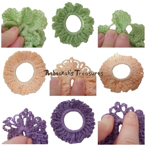 3 Spring Crochet Scrunchies from Vol. 1 Pattern PDF $1.50 by Rebeckah's Treasures! Grab your copy today here: http://goo.gl/5ZpUrH #crochet #pattern #accessory #scrunchy