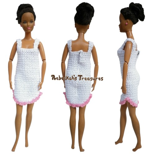 Fashion Doll Nightgown Crochet Pattern PDF $1.50 by Rebeckah's Treasures! Try if for FREE on the Blog or Grab your copy today here: http://goo.gl/YntoI1 #crochet #pattern #barbie #toys