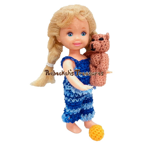 Kelly's Teddy & Ball Crochet Pattern by Rebeckah's Treasures! Try if for FREE on the Blog #crochet #pattern #barbie #kelly #doll #teddy #toys