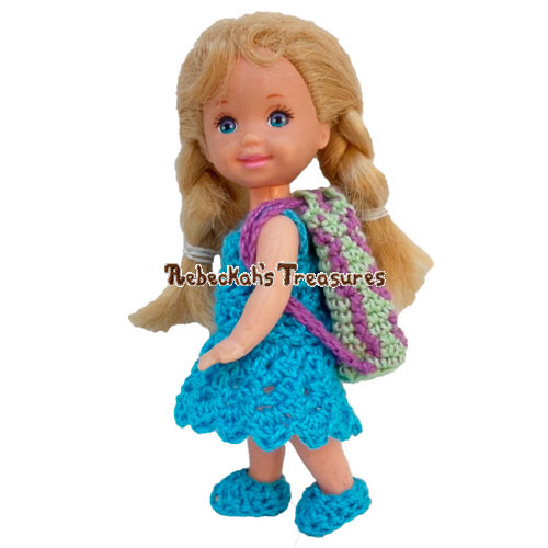 Flower Bug Doll Backpack / Coin Purse Crochet Pattern PDF $1.50 by Rebeckah's Treasures! Try if for FREE on the Blog or Grab your copy today here: http://goo.gl/KhZLhO #crochet #pattern #barbie #toys #accessory #purse