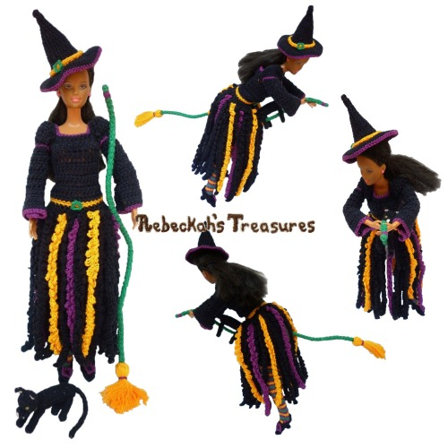 Witch Fashion Doll Crochet Pattern PDF $6.00 by Rebeckah's Treasures! Grab your copy today here: http://goo.gl/x3DucX #crochet #pattern #barbie #toys #witch #halloween