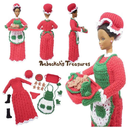 Mrs. Claus Fashion Doll Crochet Pattern PDF $6.00 by Rebeckah's Treasures! Grab your copy today here: http://goo.gl/gJCiPn #crochet #pattern #barbie #toys #christmas #mrsclaus