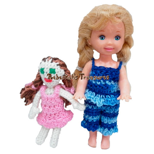 Kelly's Dolly Crochet Pattern by Rebeckah's Treasures! Try if for FREE on the Blog #crochet #pattern #barbie #kelly #doll #toys
