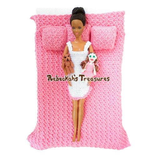 Criss Cross Bedding Fashion Doll Crochet Pattern PDF $2.00 by Rebeckah's Treasures! Grab your copy today here: http://goo.gl/vyQtAS #crochet #pattern #barbie #toys #blanket #pillow