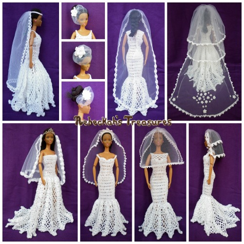 Veils - Wedding Accessories for Fashion Dolls Crochet Pattern PDF $1.50 by Rebeckah's Treasures! Try if for FREE on the Blog or Grab your copy today here: http://goo.gl/g9oV8j #crochet #pattern #barbie #toys #wedding #veils #bride